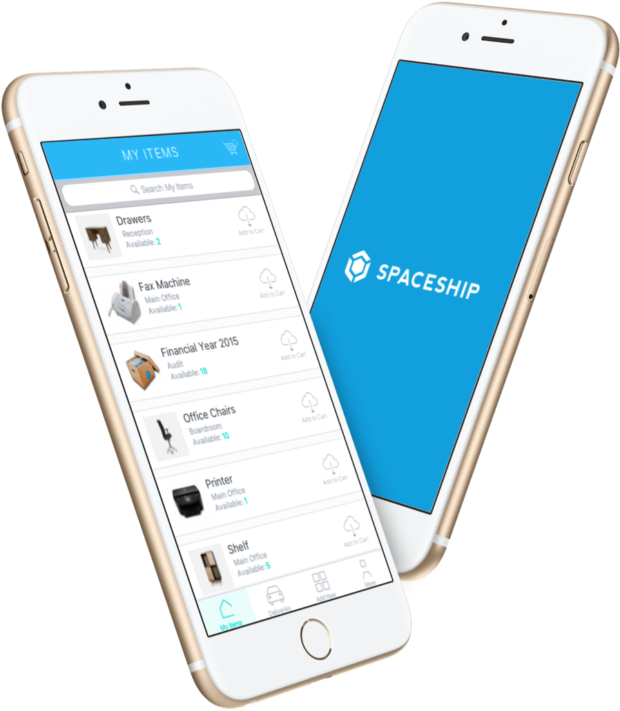 Spaceship mobile app for tracking storage items and deliveries